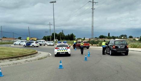 Un control de trànsit que va efectuar ahir la Guàrdia Urbana.