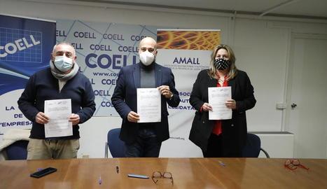 Roqué, Gardeñes i Aragonés, ahir, després de la firma de l'acord.