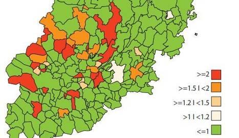 Velocidad de propagación en los municipios de Lleida.