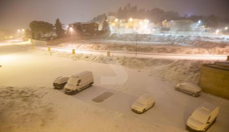 La nevada a Tàrrega a les 6 del matí.