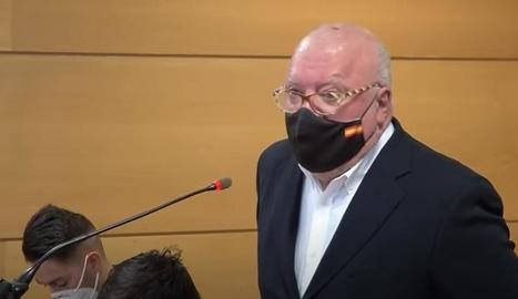 El polèmic excomissari José Manuel Villarejo, durant el judici d'ahir en contra seu.