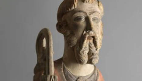L'escultura gòtica de Sant Antoni Abad que ha rebut en dipòsit el Museu de Lleida.