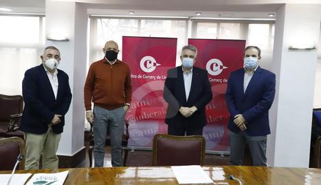 La roda de premsa ha tingut lloc a les instal·lacions de la Cambra de Comerç de Lleida.