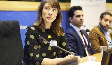 Jara Pascual, en una intervenció al Parlament Europeu
