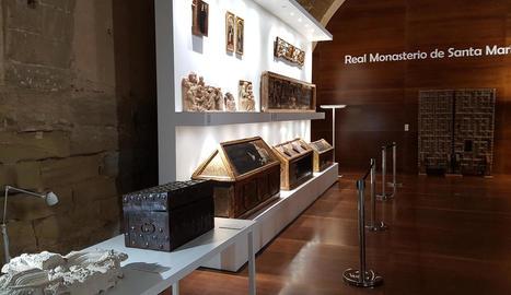 Algunes de les obres provinents del Museu de Lleida que es troben al monestir de Sixena.