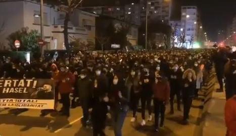Unes mil persones protesten aquest dimecres a Lleida per l'empresonament de Pablo Hasel