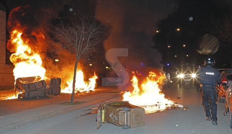 Segundo día de disturbios después de la manifestación por Hasel en Lleida