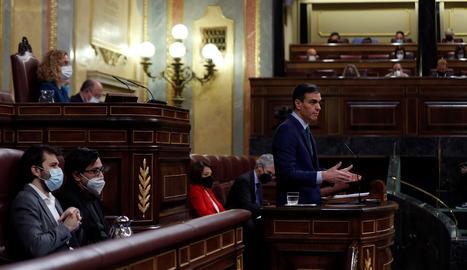 El president del Govern espanyol, Pedro Sánchez, intervé aquest dimecres durant la sessió de control al Congrés dels Diputats.
