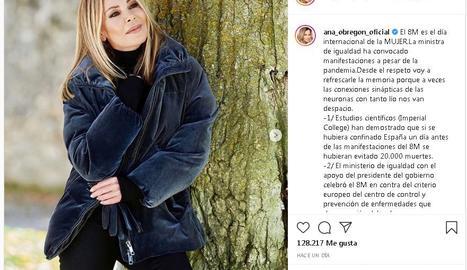 Ana Obregón carrega contra Irene Montero pel 8M