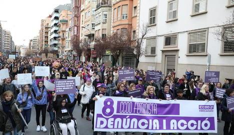 Manifestació pel 8-M l'any passat a Lleida.