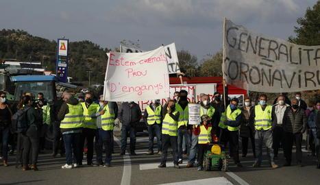 Un centenar de persones es van mobilitzar ahir de nou contra Agricultura per exigir ajuts.