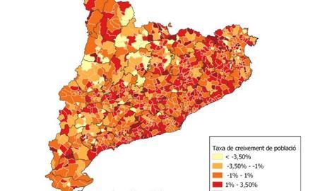 Mapa de creixement de població per municipis