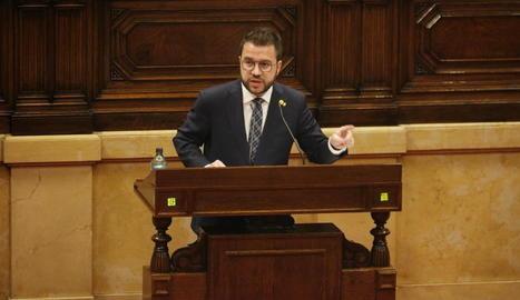 El vicepresident del Govern en funcions, Pere Aragonès, ahir durant la seua compareixença.