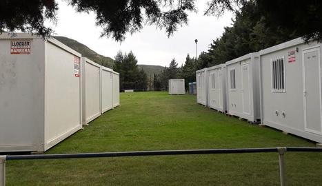Les casetes habilitades al camp de futbol de la Granja l'estiu passat per a positius i contactes.