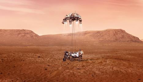 l'arribada. Fotografia de la NASA que mostra una il·lustració del Perseverance mentre aterra a la superfície de Mart.