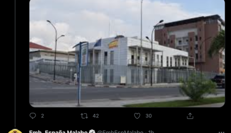 Tuit de la embajada española en Guinea Equatorial