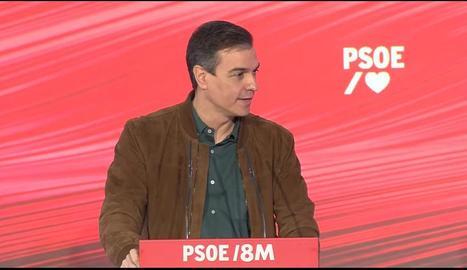 Pedro Sánchez, a la jornada dels socialistes sobre 'La memòria del feminisme'.