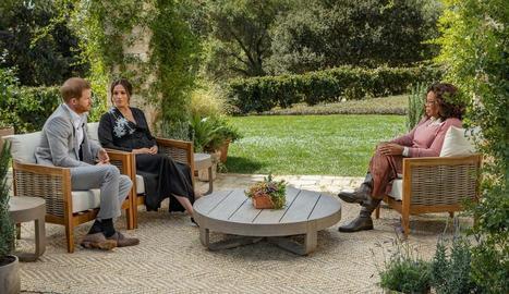 Harry i Meghan durant l'entrevista d'Oprah Winfrey.