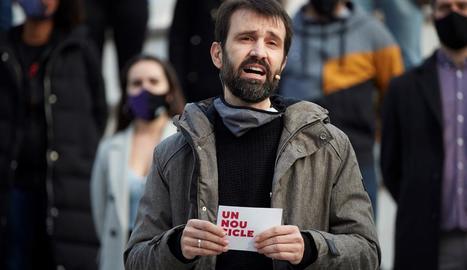 Borràs, Torrent, Juvillà i el vicepresident d'Òmnium Cultural, Marcel Mauri, ahir a Barcelona.