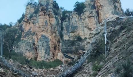 FGC inicia la protecció del tren que ha xocat contra una esllavissada de roques a la línia de la Pobla