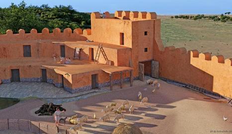 Recreació d'una vista aèria emmarcada en el paisatge i de la construcció principal del poblat ibèric dels Estinclells de Verdú, obra de Jaume Font Queraltó.