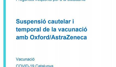 FAQs sobre la suspensió cautelar i temporal de la vacunació amb Oxford/AstraZeneca