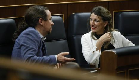 Imatge d'arxiu de Pablo Iglesias i Yolanda Díaz al Congrés dels Diputats.