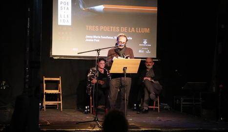 Josep M. Rodríguez i Pere Rovira van retre homenatge a Joan Margarit al nou festival Poesia Lleida.
