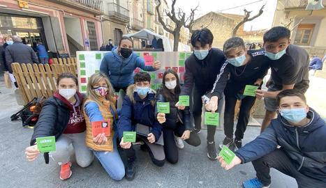 Escolars de Guissona que participen en aquesta campanya.