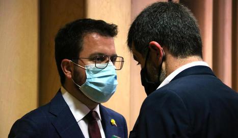 Pere Aragonès, candidat a la investidura, i Jordi Sànchez, dirigent de JxCat, junts, aquesta setmana.
