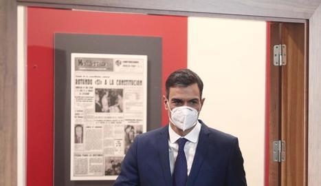 Pedro Sánchez, ahir al dirigir-se a la roda de premsa.