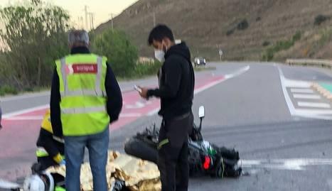 Imatge del motorista ferit a l'accident de Balaguer.