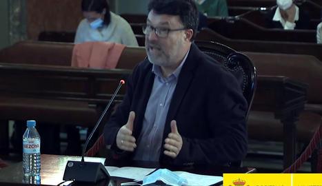 El diputat d'ERC Joan Josep Nuet durant el seu interrogatori en el judici al Tribunal Suprem el 24 de març.