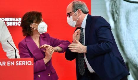El líder del PP, Pablo Casado, i la presidenta madrilenya, Isabel Díaz Ayuso, ahir, en un acte de partit.