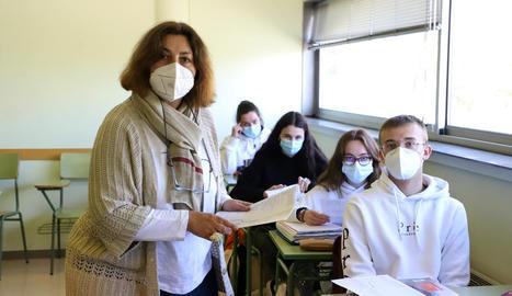 Mariona Torrent, ahir fent classe a Batxillerat Internacional.