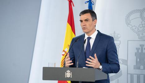 El president del govern espanyol, Pedro Sánchez, en roda de premsa després de la reunió del Consell de Ministres.