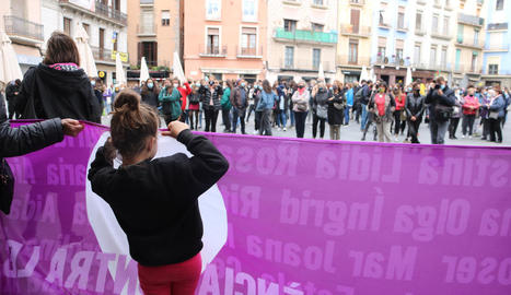 Imatge de la concentració celebrada ahir a Manresa.