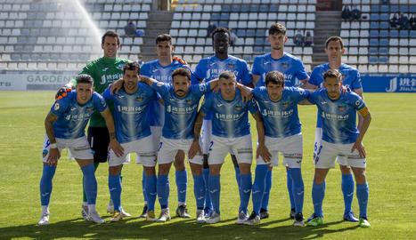 La formación del Lleida en el anterior partido en el Campo d'Esports.