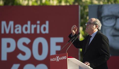 El candidat del PSOE, Ángel Gabilondo, ahir, també en un míting.