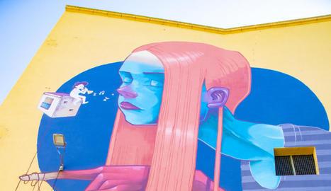 Un dels murals de gran format que s'han fet durant el festival Lleida_potFest situat al carrer Cavallers.