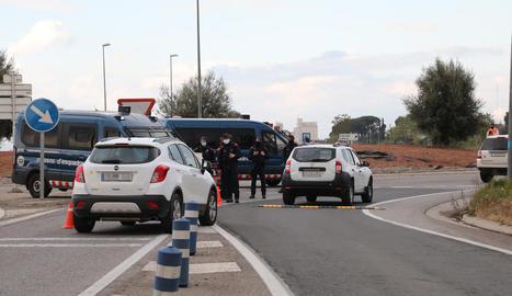 Control de mobilitat dels Mossos la setmana passada a Alcoletge.