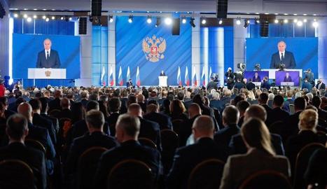 Un moment del discurs de Putin davant l'Assemblea Federal.