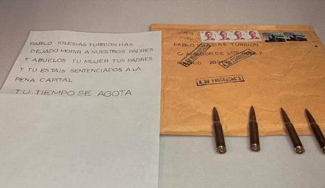 La carta amb amenaces i bales que el líder de Podem, Plabo Iglesias, va rebre la setmana passada.