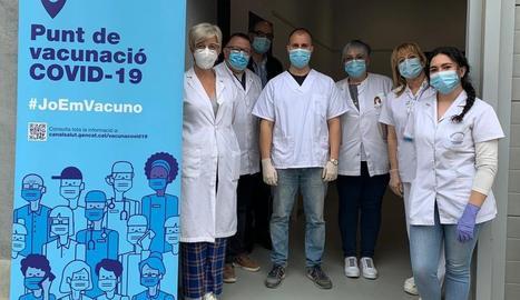 Equip del consultori de Rosselló, del CAP Lleida Rural Nord, que lidera la vacunació.
