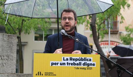 El candidat d'ERC a la presidència, Pere Aragonès, ahir durant una intervenció a Barcelona.