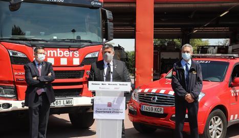 Un moment de la roda de premsa des del parc de bombers de Lleida.