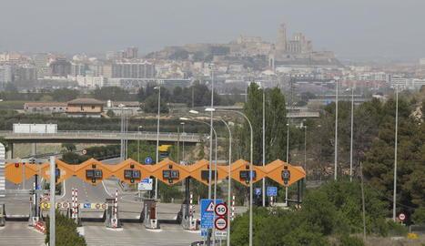 Imatge recent del peatge de l'AP-2 a Lleida.