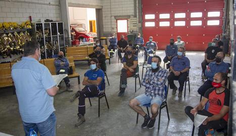 Reunió ahir dels bombers voluntaris a Agramunt.