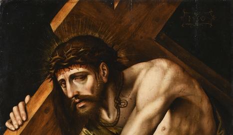 L'obra 'Jesús amb la creu a coll cau per primera vegada'.