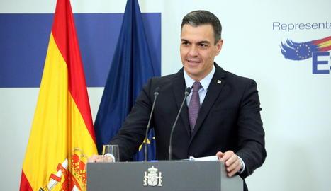 El president del govern espanyol, Pedro Sánchez, durant una roda de premsa a Brussel·les després de la cimera europea.